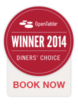 OpenTable Winner Diners' Choice 2014